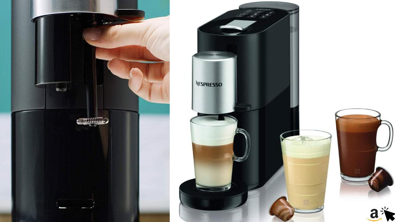 Krups XN8908 Nespresso Atelier Kaffeekapselmaschine, Milchaufschäumsystem direkt in der Tasse, 1L Wassertank