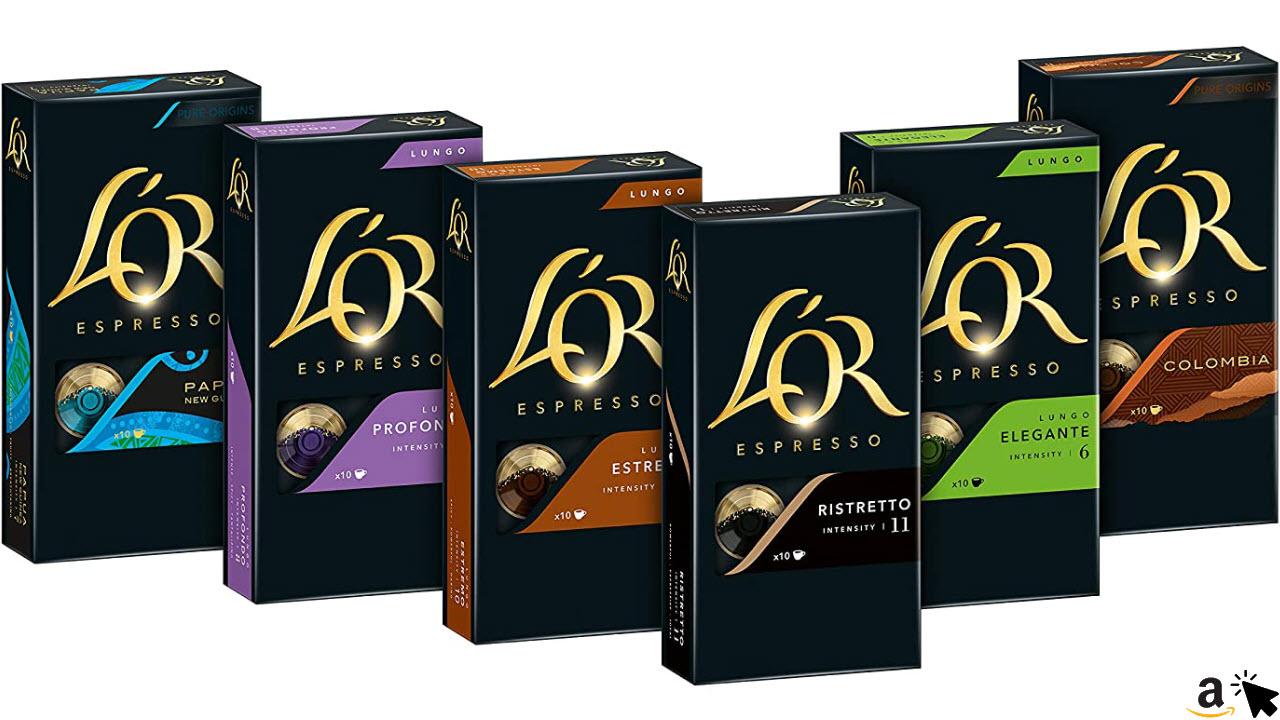 L'OR Kaffeekapseln, Probierbox mit 6 Sorten, 60 Nespresso kompatible Kapseln