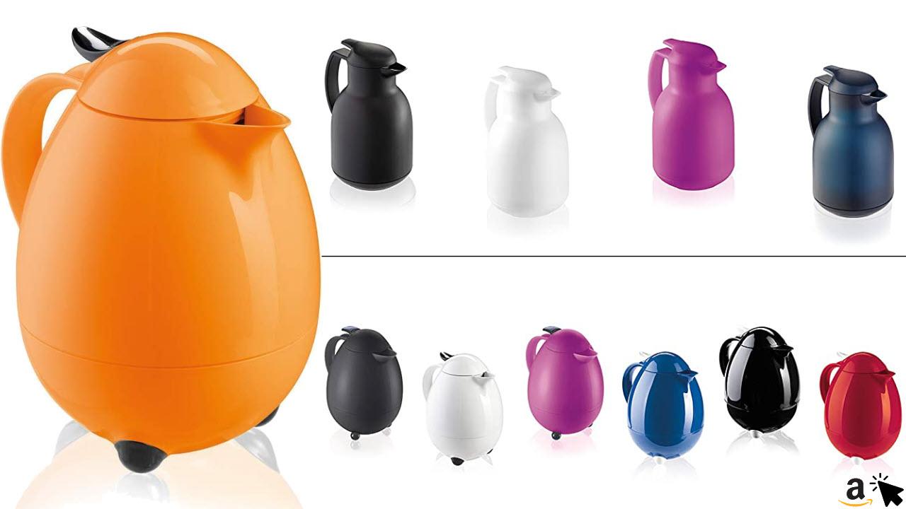 Leifheit Columbus 1, 0 L Design Isolierkanne, Thermoskanne mit bewährter Aromataste, praktisches Öffnen und Schließen mit einer Hand, Kaffeekanne, Teekanne