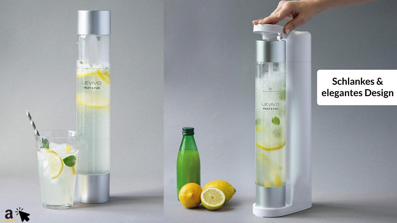 Levivo Wassersprudler Fruit & Fun Sprudler Slim, mit 1-Liter-Sprudlerflasche und CO2-Kohlensäure-Kartusche, Kohlensäure für Wasser, Cocktails und andere Getränke