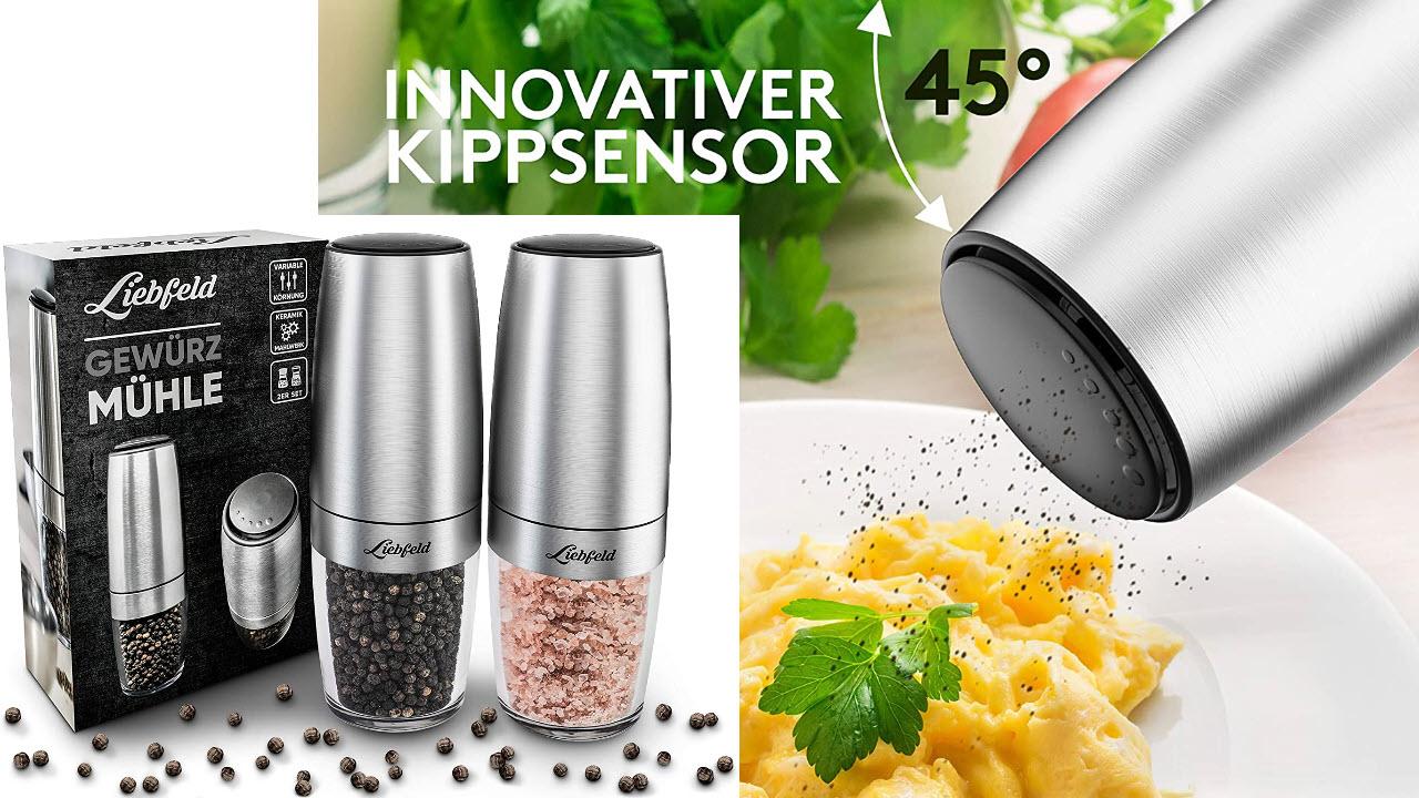 Liebfeld - Salz und Pfeffer Mühle elektrisch 2er Set mit Kippsensor