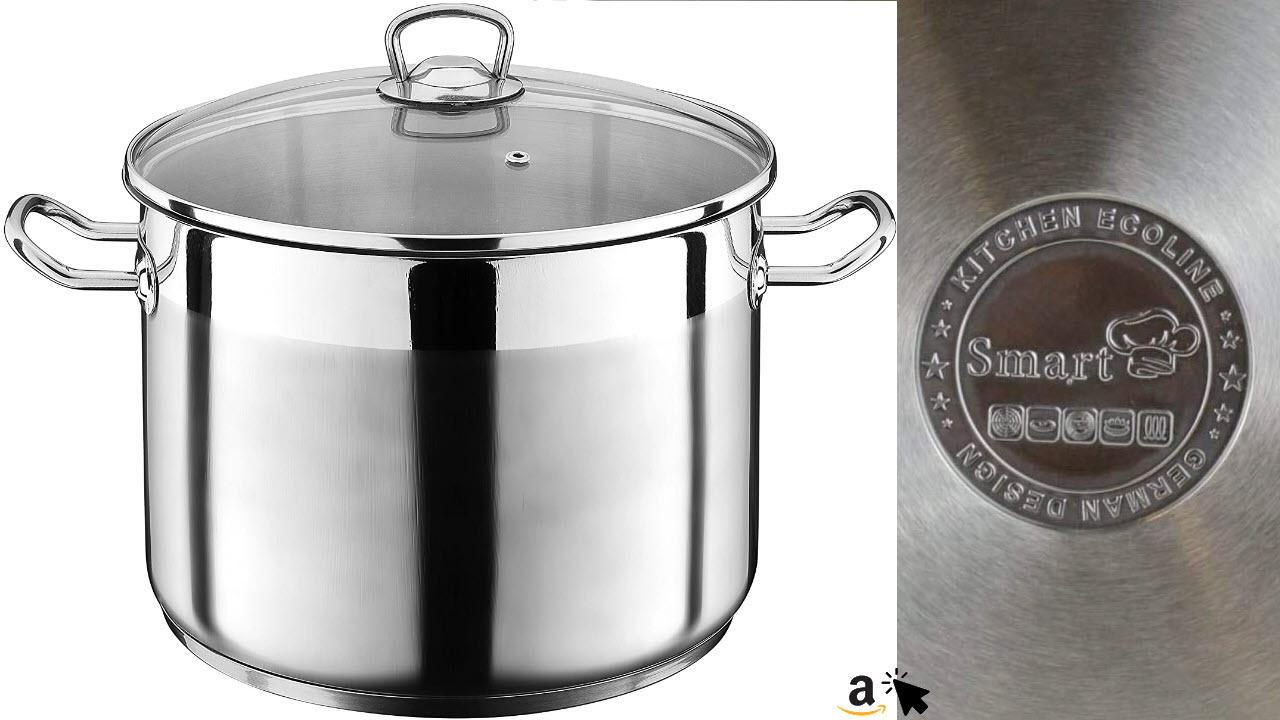 Liivo 20 Liter Kochtopf mit Glasdeckel Suppentopf Topf Eintopf Universaltopf für Elektro, Gasherd, Induktion geeignet