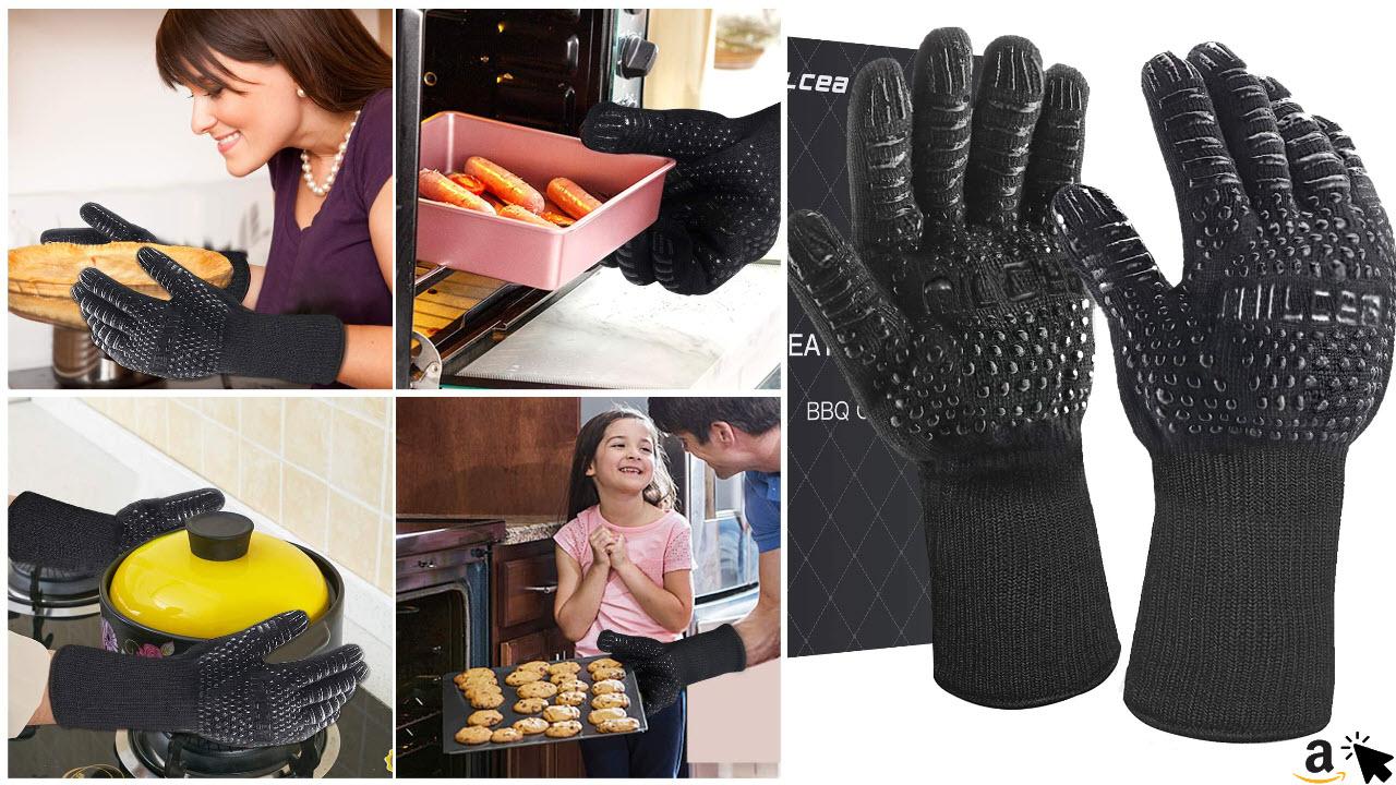 MILcea Grillhandschuhe Ofenhandschuhe Grill Lederhandschuhe Hitzebeständige bis zu 800°C Universalgröße Kochhandschuhe Backhandschuhe