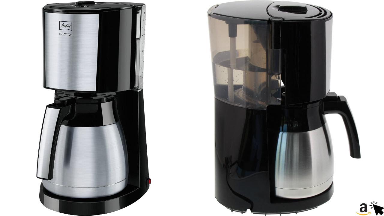 Melitta 1017-08 Enjoy Toptherm Filter-Kaffeemaschine mit Thermoskanne, Edelstahl, schwarz