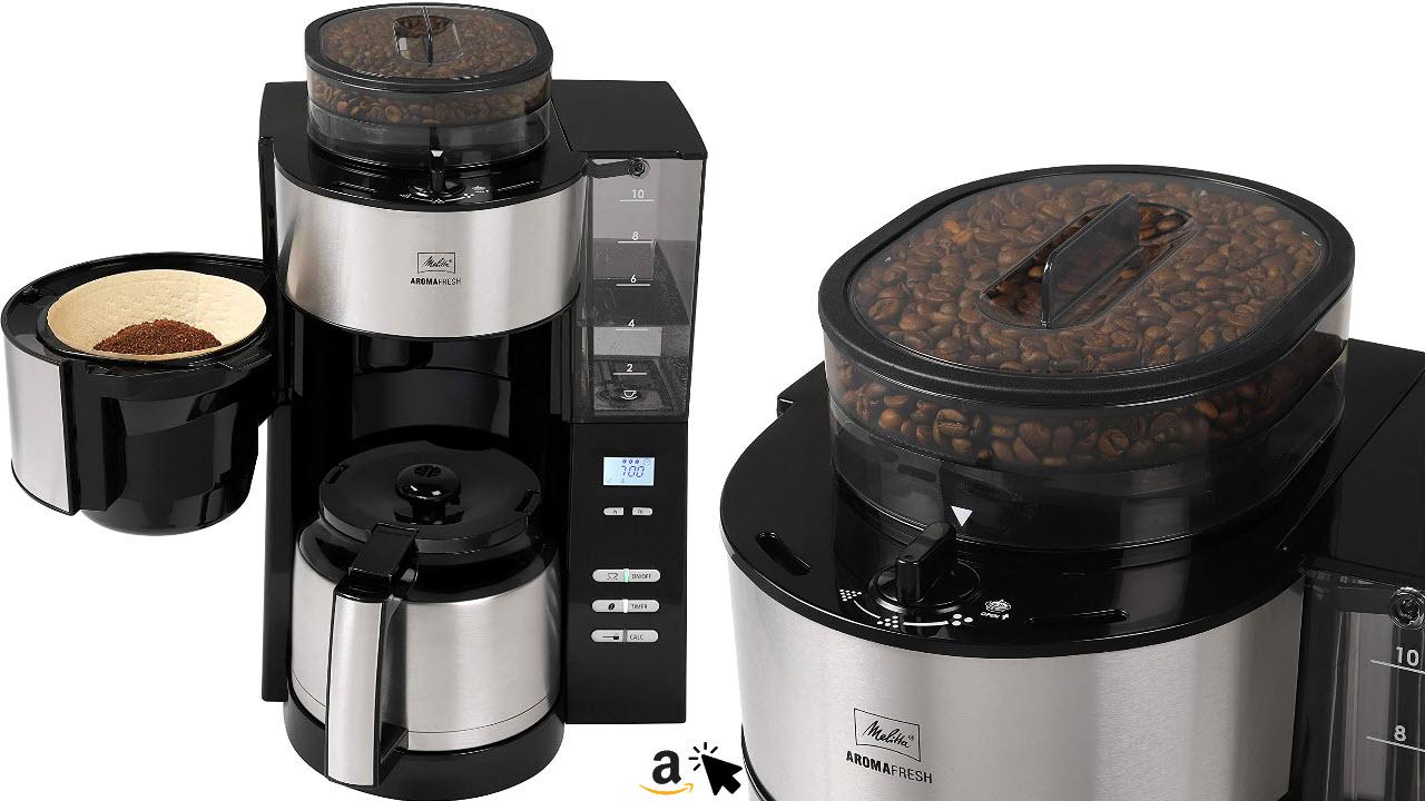Melitta AromaFresh Therm Filterkaffeemaschine mit integriertem Mahlwerk und Thermoskanne