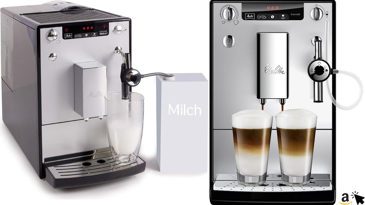 Melitta Caffeo Solo & Perfect Milk E957-103 Schlanker Kaffeevollautomat mit Auto-Cappuccinatore, Automatische Reinigungsprogramme, Automatische Mahlmengenregulierung, Silber