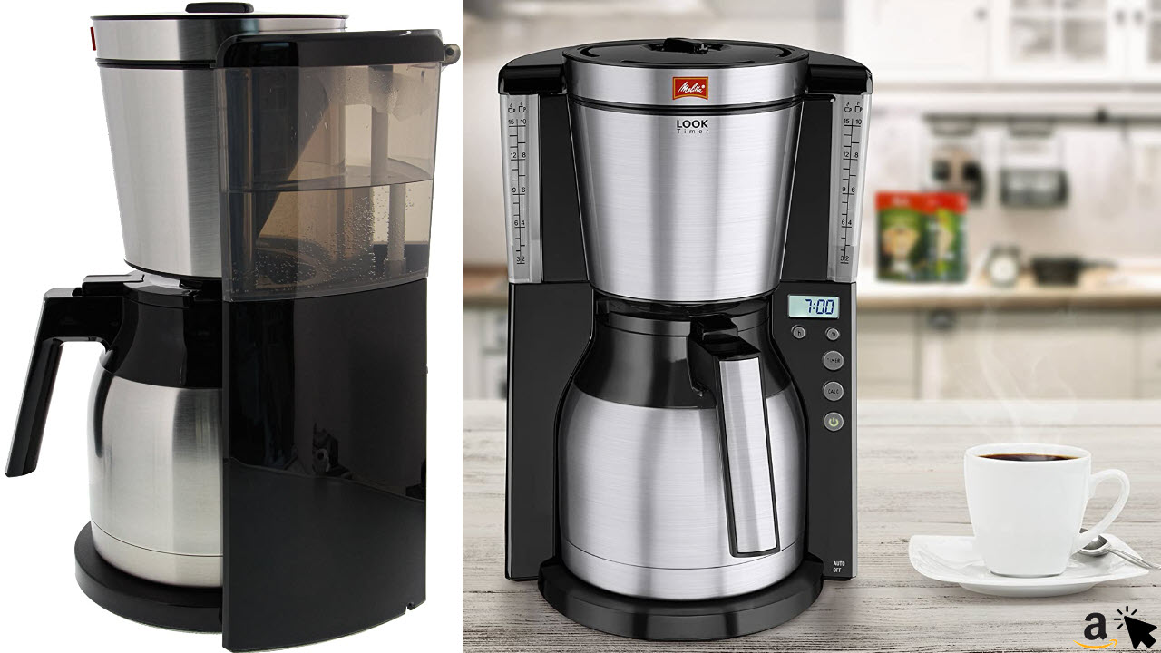 Melitta Look Therm Filterkaffeemaschine mit 1,2 Liter Edelstahl Thermoskanne, Timer-Funktion und AromaSelector