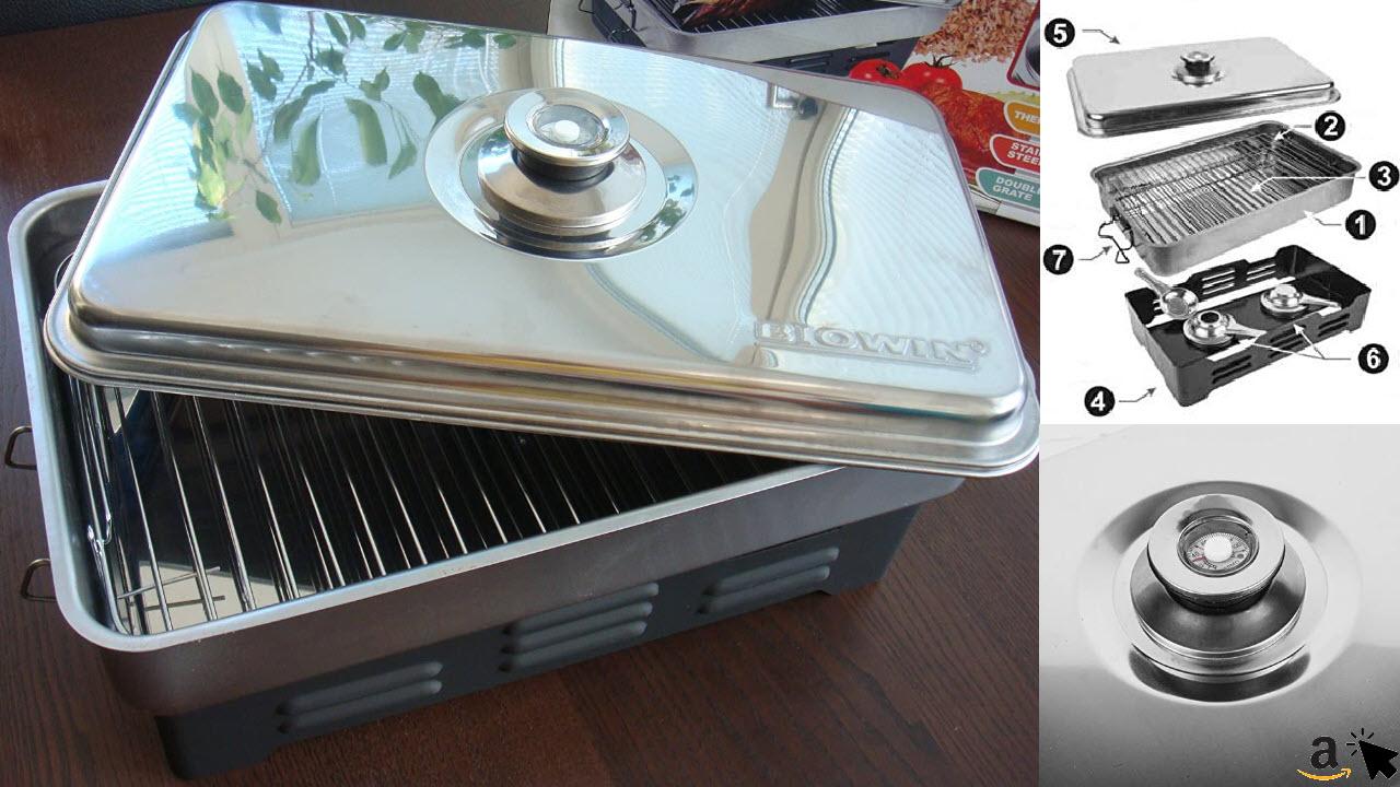 MultiDepot Tisch-Räucherofen mit Thermometer Edelstahl für Anfänger