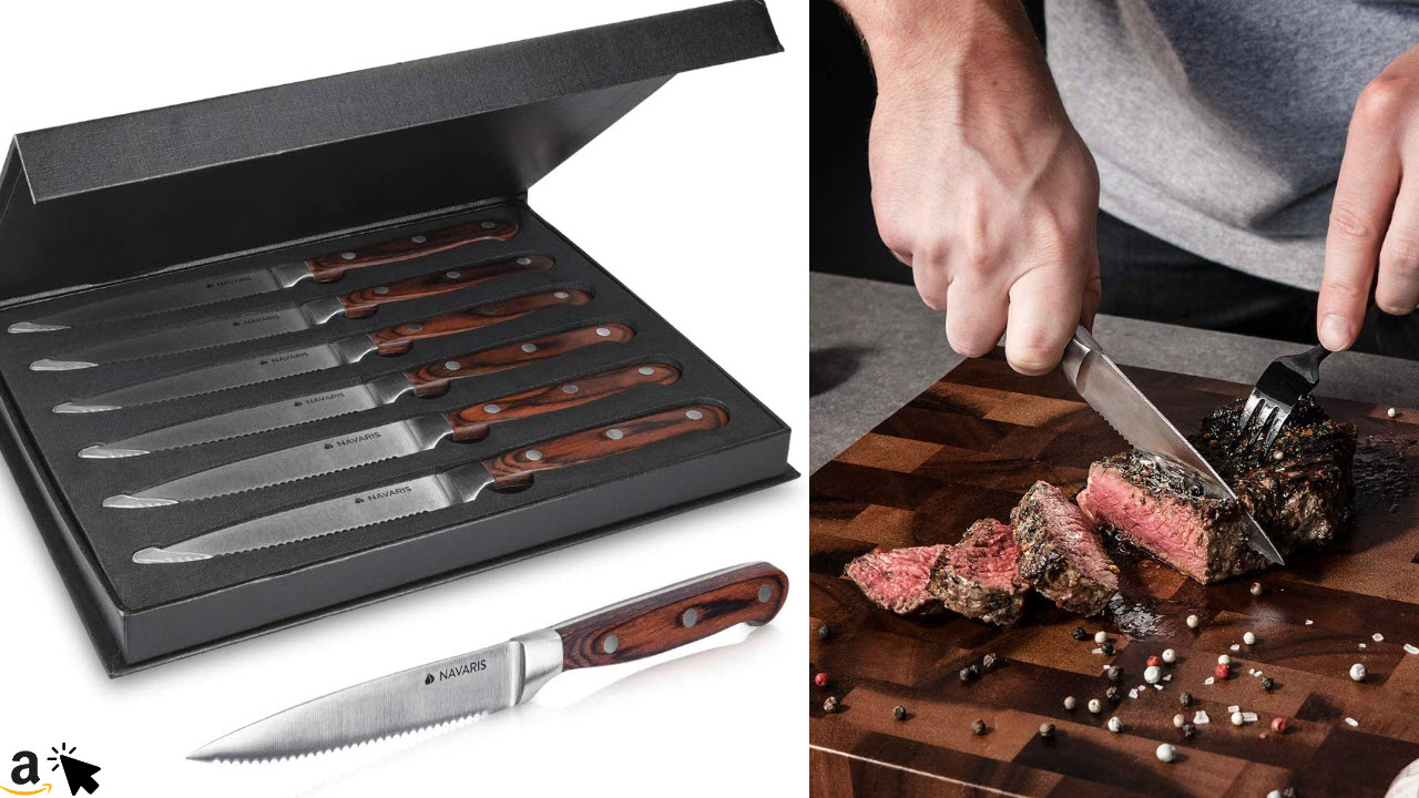 Navaris 6x Steakmesser Set mit Holzgriff, Edelstahl Wellenschliff Steakbesteck