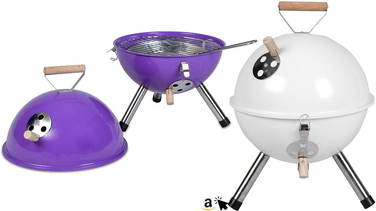 Nexos Mini Grill Kugelgrill Holzkohlegrill für Garten, Balkon, Terrasse, Camping, Festival Picknick BBQ Barbecue Ø 30 cm