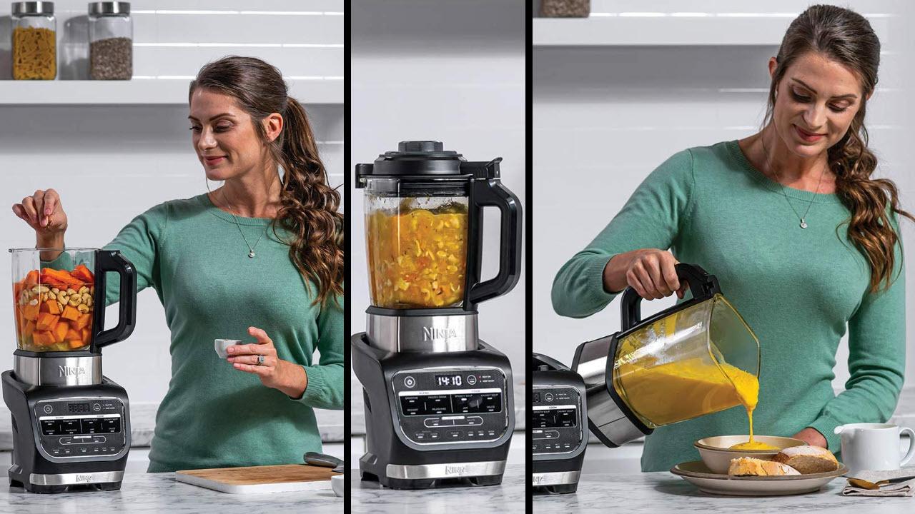 Ninja Suppenkocher Mixer mit Kochfunktion, Hitzebeständiger Glaskrug
