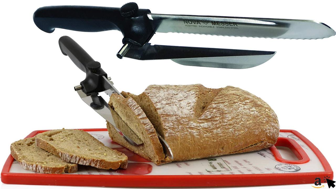 Nova Brotmesser mit Abstandshalter für Brot, Wurst, Käse, Fleischkäse, aus rostfreiem Edelstahl