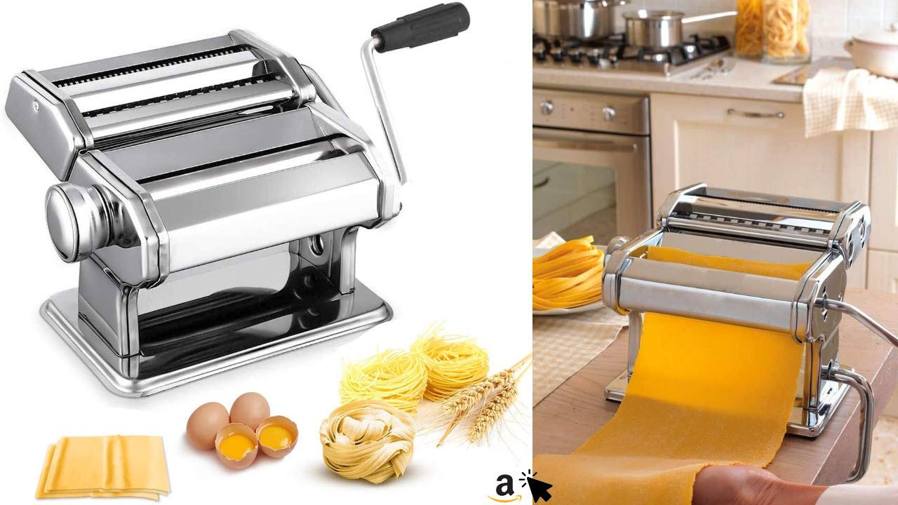 Nudelmaschine Pasta Maker Edelstahl Frische Manuell Pasta Walze Maschine Cutter mit Klemme für Spaghetti Nudeln Lasagne