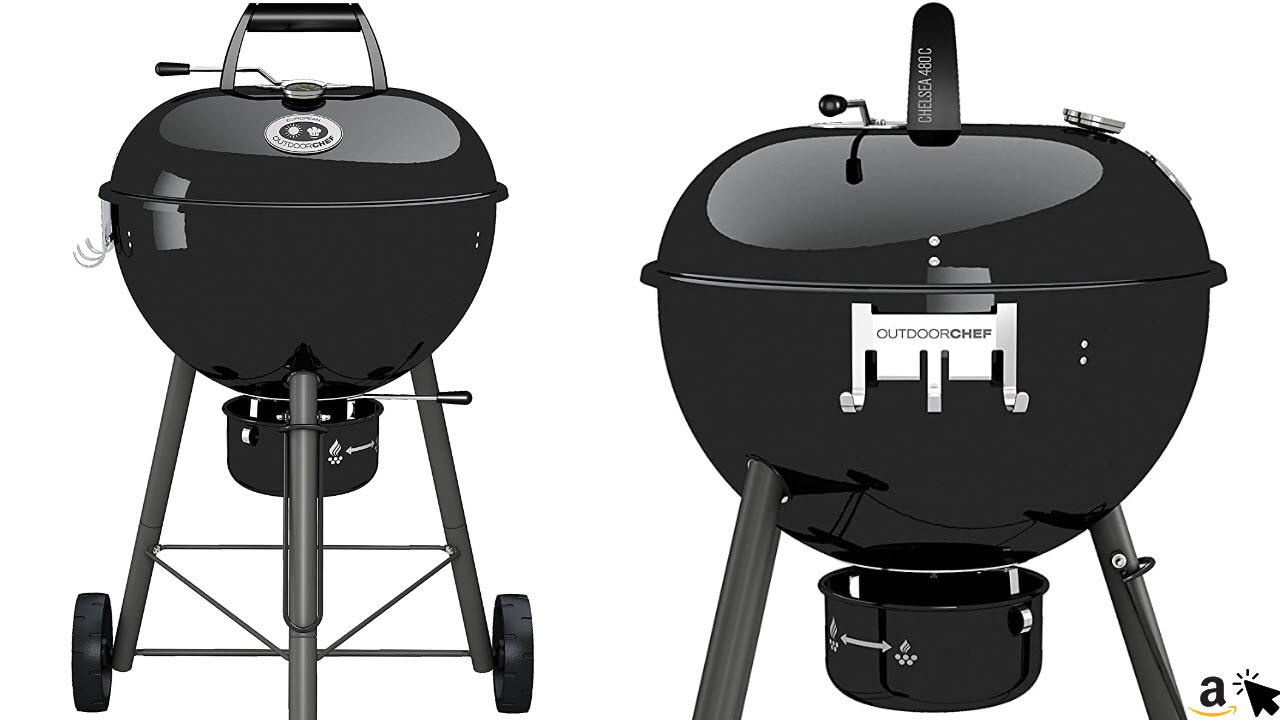 Outdoorchef Kohlegrill Chelsea 480 C, Kugelgrill mit Ventilationssystem, Steak Grill für Garten und Terrasse, als Smoker Grill geeignet, Ø 48 cm