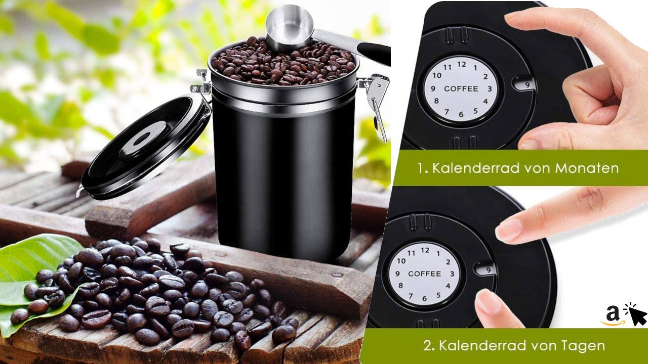 Panda Grip Kaffeedose Luftdicht, Kaffeebehälter, Kaffeedose Edelstahl Vorratsdose mit Datum