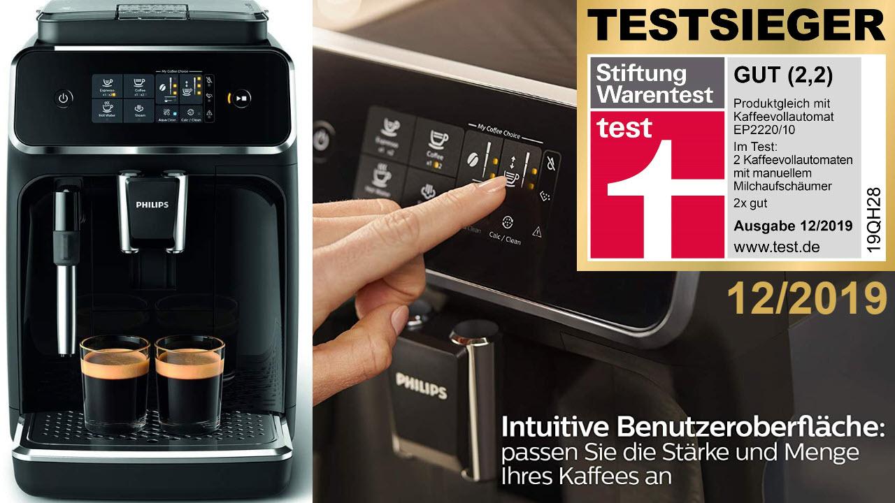 Philips 2200 Serie EP2221-40 Espresso-Kaffeevollautomat, 2 Kaffeespezialitäten