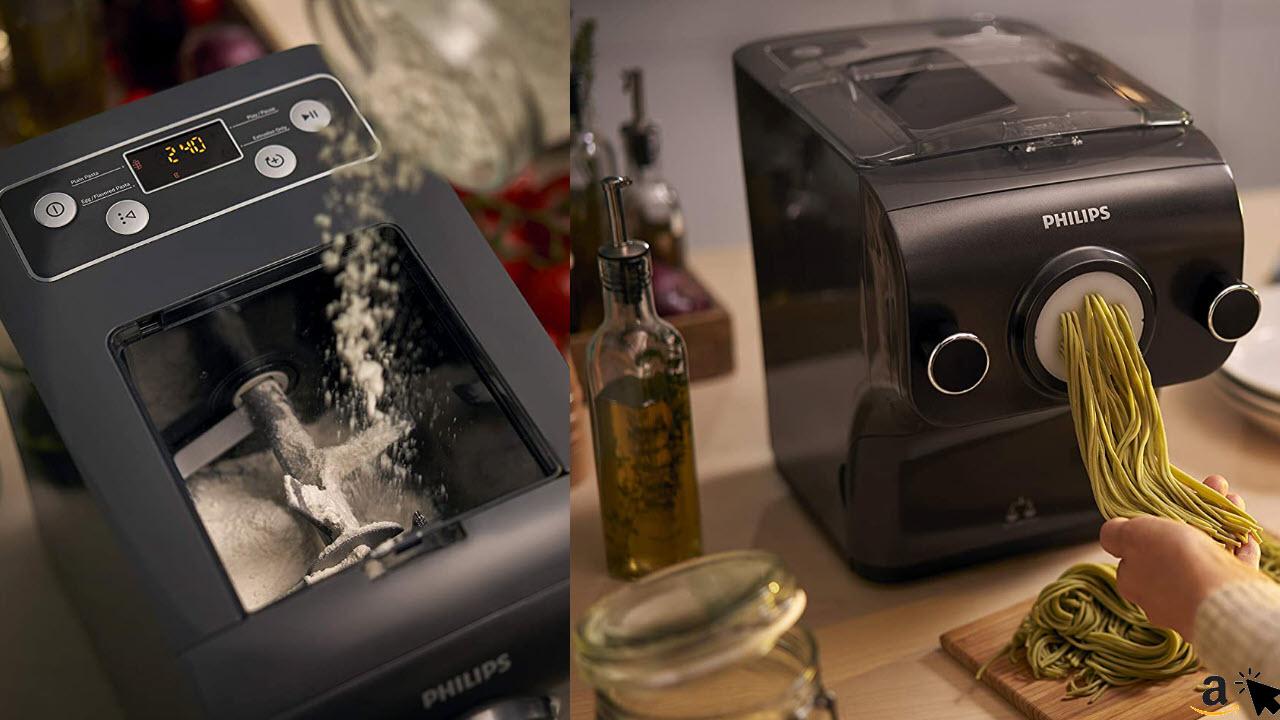 Philips HR2382-15 Pastamaker, 200 W, vollautomatische Nudelmaschine, mit Wiegefunktion und 8 Formscheiben