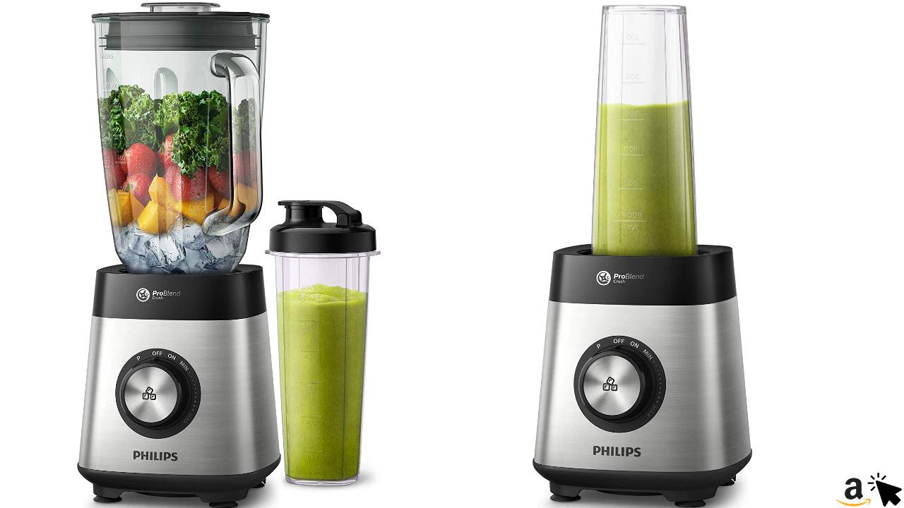 Philips Standmixer HR3573-90, 1000 W, 27000 UpM, 2L Glasbehälter, mit Trinkflasche, spülmaschinenfest