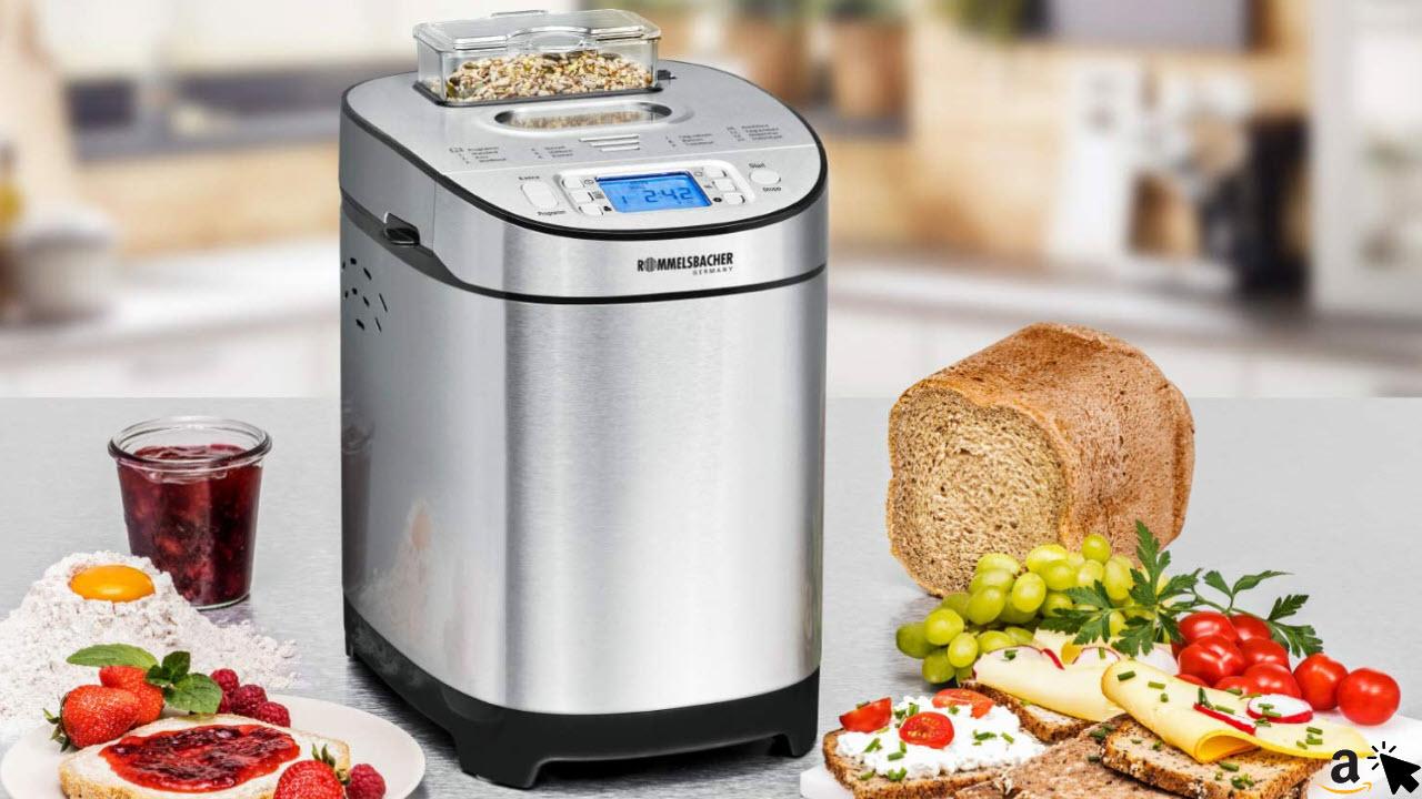 ROMMELSBACHER Brotbackautomat BA 550 - 13 Programme, automatisches Zutatenfach, 2 Brotgrößen 700 - 900 g, einstellbarer Bräunungsgrad in 3 Stufen, auch für glutenfreies Brot