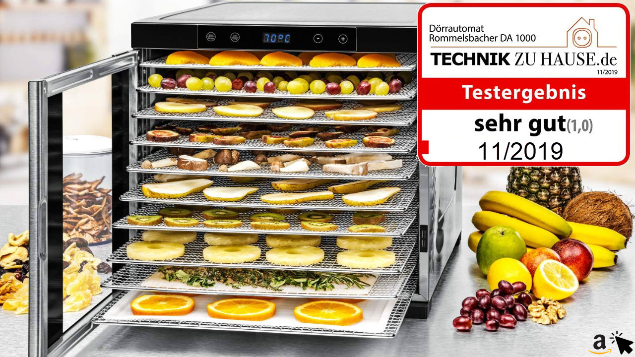 ROMMELSBACHER Dörrautomat DA 1000, XXL-Dörrfläche 1,6 qm, 10 Edelstahl-Dörrtabletts, 2 Dörrgitter, 2 Dörrmatten, LED-Display, 24 Std. Zeitschaltuhr, Temperatur einstellbar 35 – 75 °C
