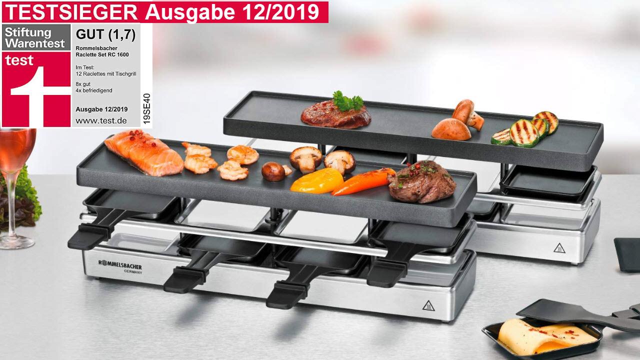 ROMMELSBACHER RC 1600 Raclette-Grill Set für 4+4, Tischgrill, für 8 Personen, erweiterbar, Parkdeck, Alu-Druckguss-Grillplatte mit Xylan Plus Antihaftbeschichtung, 1590 W