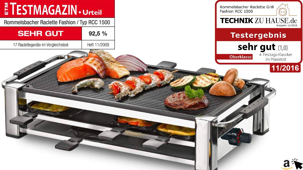 ROMMELSBACHER RCC 1500 Raclette-Grill Tischgrill für 8 Personen, gerippte Alu-Druckguss-Grillplatte, Xylan Plus Antihaftbeschichtung, Parkdeck, 1500 W