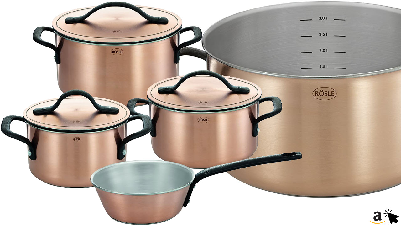 RÖSLE CHALET Topfset, 4 teilig, Kupfer-Mehrschichtmaterial, matt, mit Deckel, Kochtopf, Sauteuse, Innenskalierung, induktionsgeeignet