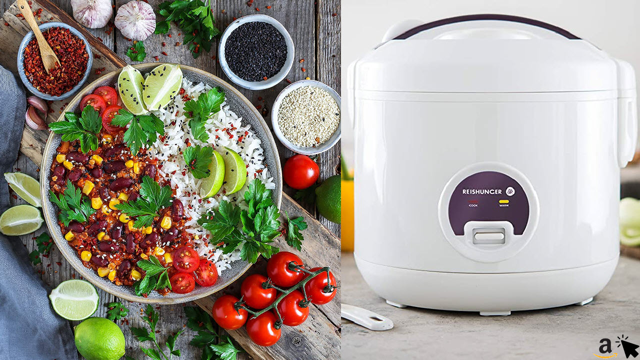 Reishunger Reiskocher und Dampfgarer mit Warmhaltefunktion, Reis für bis zu 6 Personen ohne Anbrennen, mit Dämpfeinsatz, Löffel und Messbecher, hochwertiger Innentopf