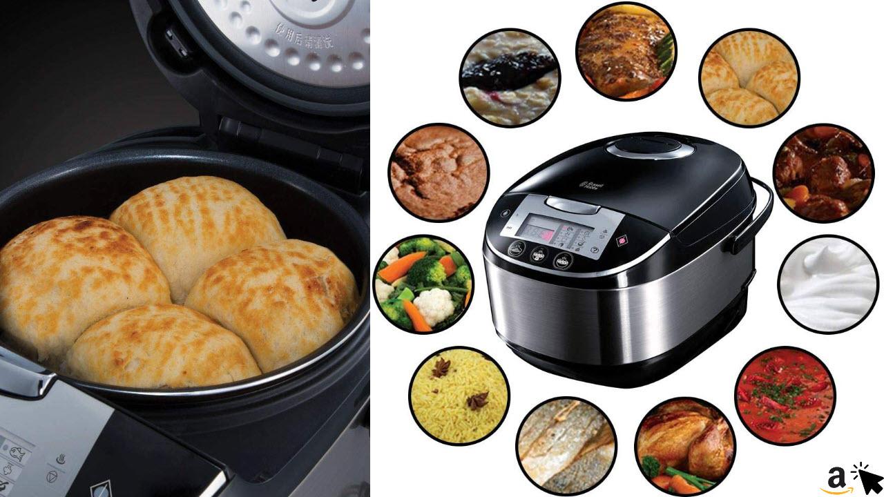 Russell Hobbs Multicooker 5,0l digitales Display, Timer, 11 Kochprogramme, Schongarer, Dampfgarer, Slow Cooker, Reiskocher, Joghurtbereiter etc. mit Anti-Kondensations-Deckel