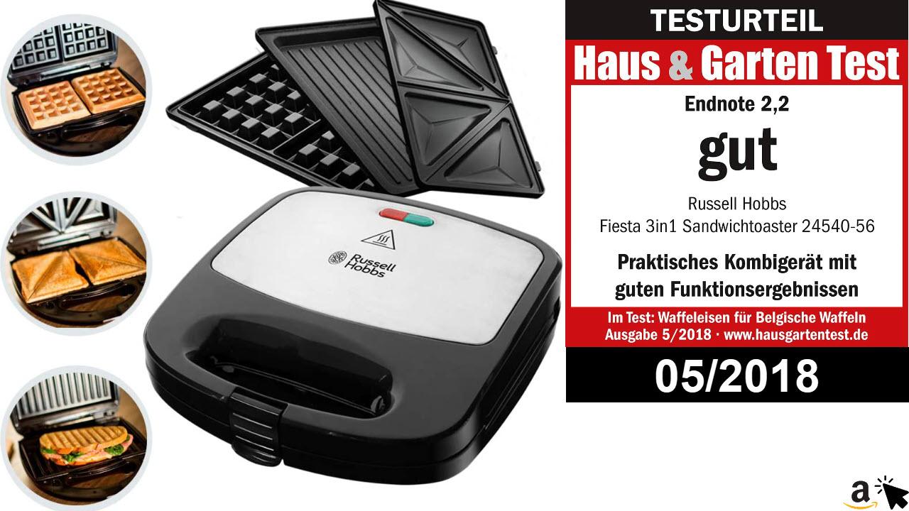 Russell Hobbs Multifunktionsgerät 3-in-1 Fiesta -Sandwich Maker, Waffeleisen, Kontaktgrill, spülmaschinengeeignete & antihaftbeschichtete Platten