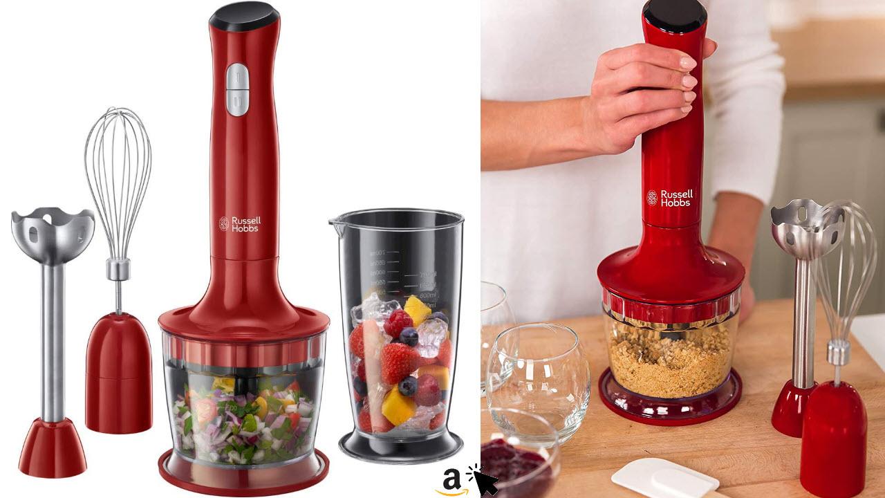 Russell Hobbs Stabmixer 3-in-1 Desire, Zerkleinerer, Mixer- & Schneebesenaufsatz, BPA-freies & spülmaschinenfestes Zubehör, Pürierstab für Smoothie, Suppen, Joghurt, Saucen, Babynahrung