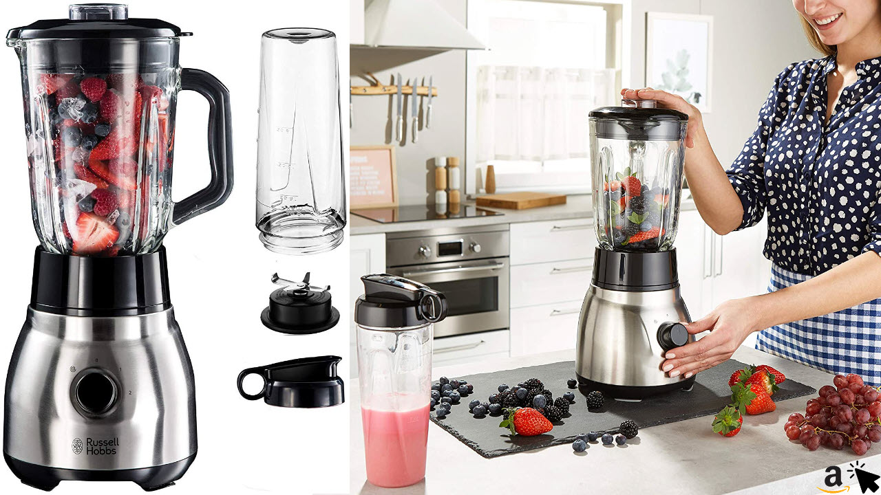 Russell Hobbs Standmixer Glas Steel 2-in-1, mit To-Go-Becher & Deckel, 1,5 Liter Glasbehälter, Mixer 0,8 PS-Motor, Impuls-Ice-Crush Funktion, mini Smoothie-Maker