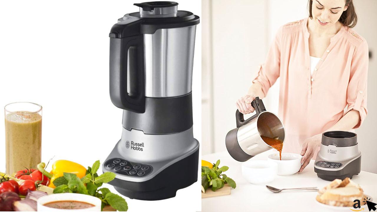 Russell Hobbs Standmixer mit Kochfunktion, 8 Kochprogramme, 1,75L Fassungsvermögen Kalt & 1,4L Heiß, Kochen & Dünsten, elektrischer Schongarer Soup & Blend