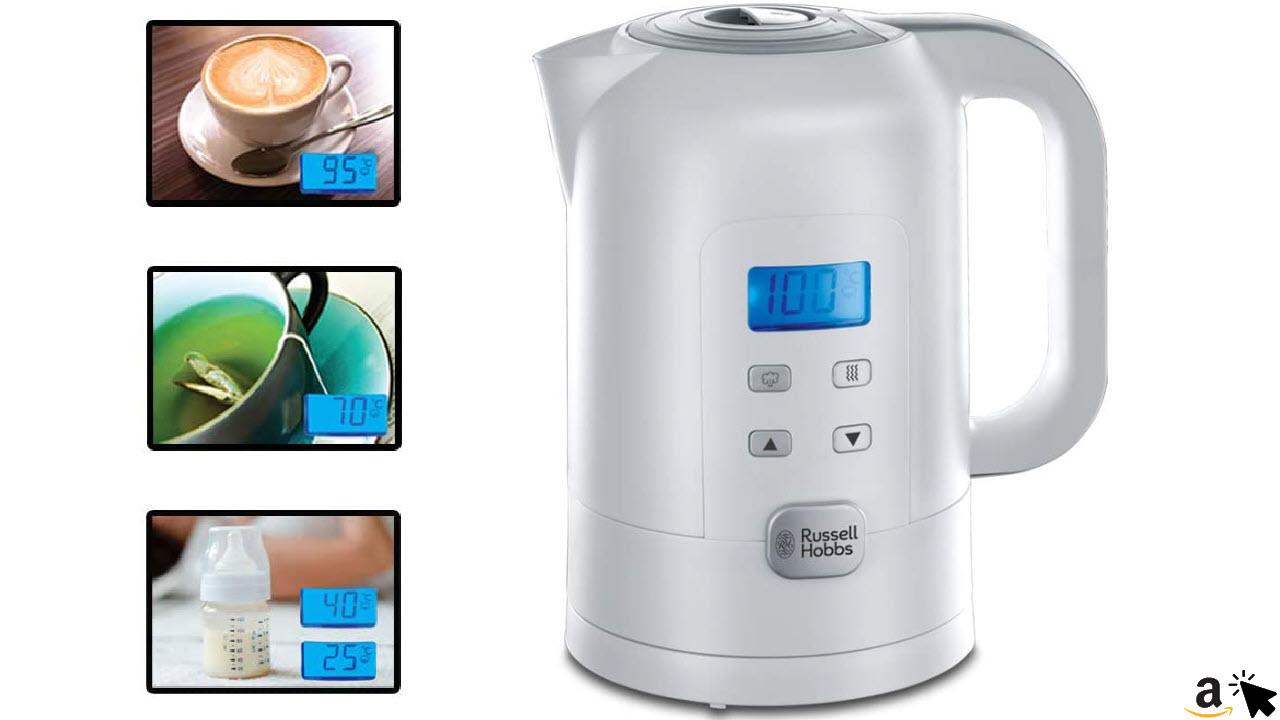 Russell Hobbs Wasserkocher Precision, 1,7l, 2200W, digitale Temperatureinstellung & LCD Anzeige, 25°-100°C einstellbar für die Zubereitung von Babynahrung & Tee, Warmhaltefunktion, Teekocher