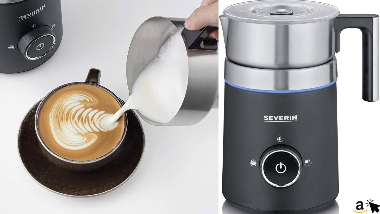 SEVERIN SM 3585 Induktions-Milchaufschäumer Spuma 500, 500 W, 500 ml, 360°-LED Leuchtring, Schokoladenfunktion, spülmaschinengeeigneter Milchbehälter
