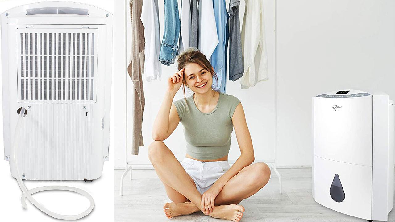 SUNTEC Luftentfeuchter & Luftreiniger Dryfix 20 Design mit Ablaufschlauch, Raumentfeuchter mit 20 Liter pro Tag Entfeuchtung, Wunsch-Luftfeuchtigkeit-Einstellbar