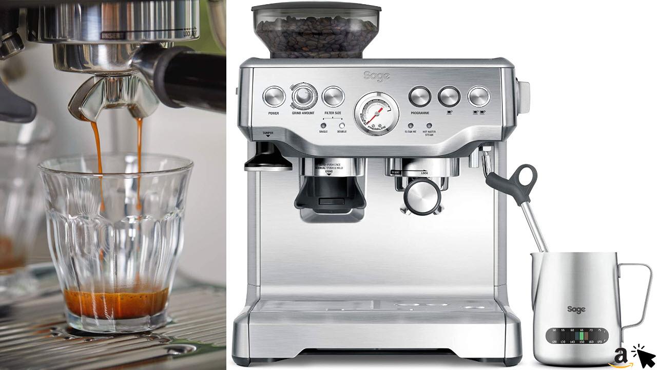 Sage Appliances SES875 the Barista Express, Siebträgermaschine, Espressomaschine mit Siebträger, Gebürsteter Edelstahl
