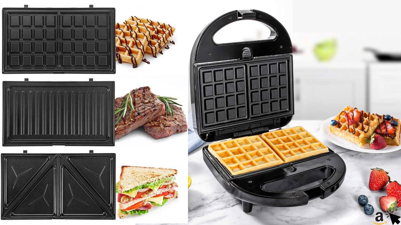 Sandwichmaker 3 in 1 Waffeleisen, Sandwichtoaster, Kontaktgrill, OSTBA, Antihaftbeschichtete abnehmbare Platten, Cool Touch Griffe, 750 W, LED-Anzeigen, BPA frei