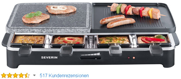 Severin RG 2341 Raclette-Partygrill mit Naturgrillstein