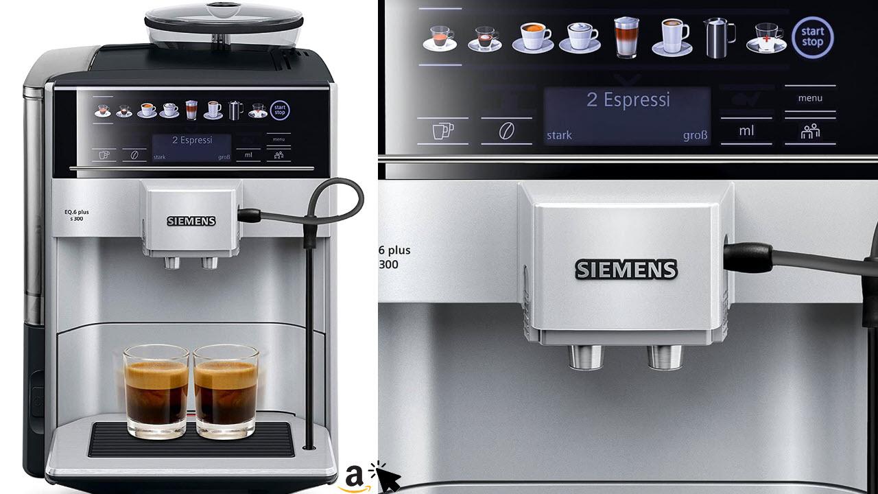 Siemens EQ 6 plus s300 Kaffeevollautomat TE653501DE, Speicherung Profile, Dampf-Reinigung, Doppeltassen-Funktion, 1500 Watt, silber