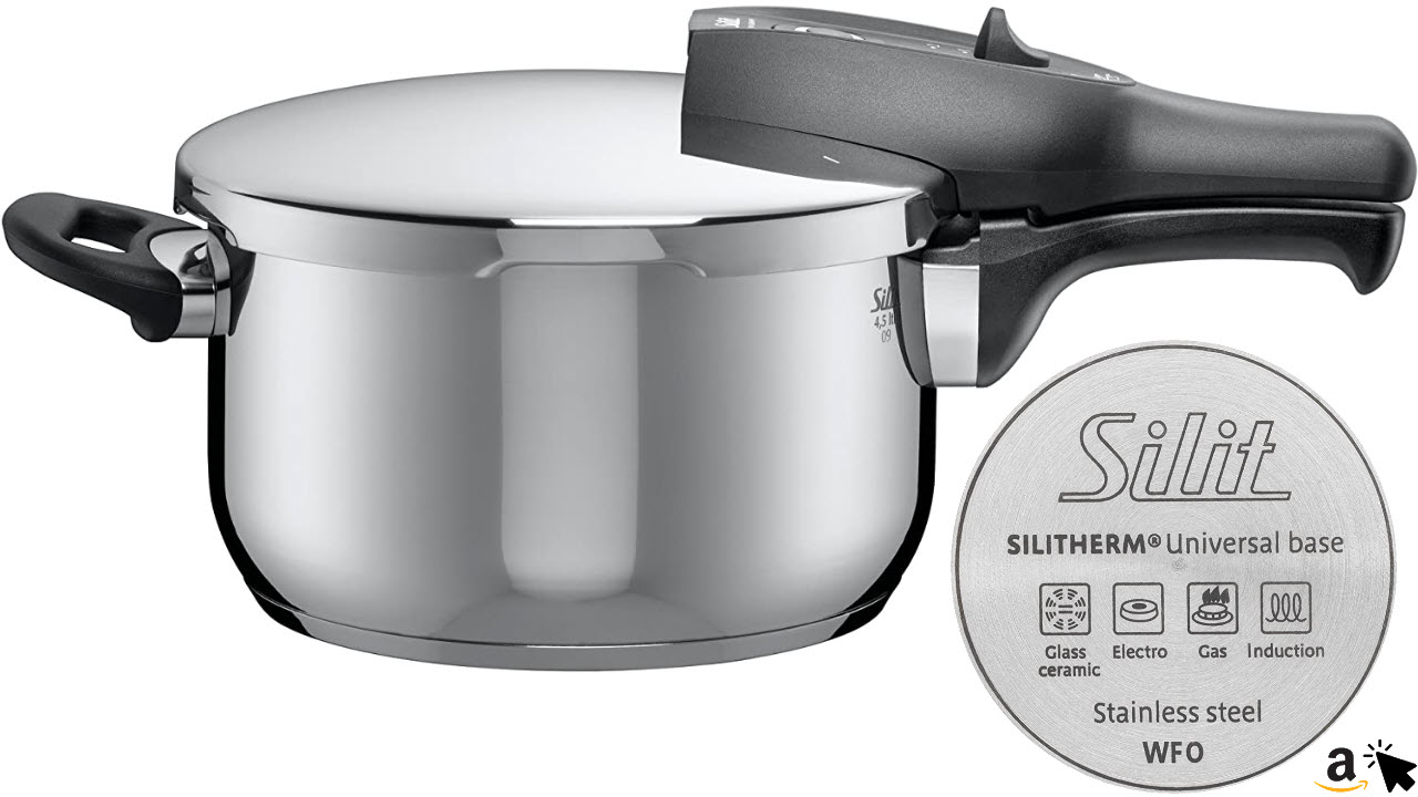Silit Sicomatic classic Schnellkochtopf, 4,5 L, Edelstahl poliert, Innenskalierung, induktionsgeeignet