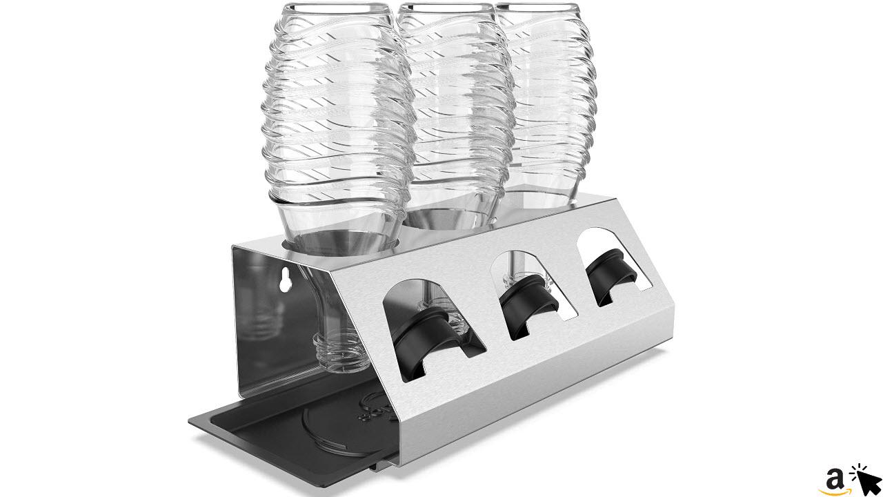 SodaClean Premium Abtropfhalter aus Edelstahl mit Abtropfwanne für SodaStream und Emil Flaschen, spülmaschinenfest Abtropfständer Abtropfgestell inkl. Deckelhalterung