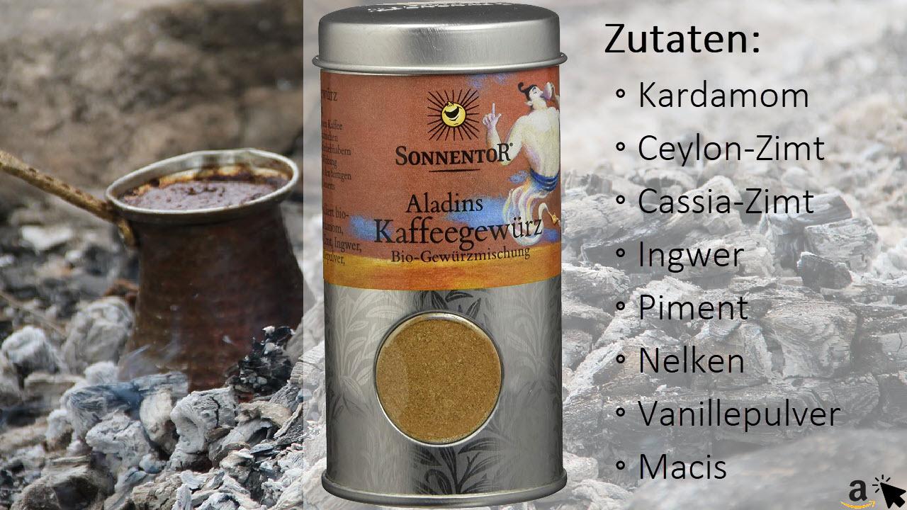 Sonnentor Aladins Kaffeegewürz Streudose - Vanille, Zimt, Kardamom würzig-orientalische Verführung