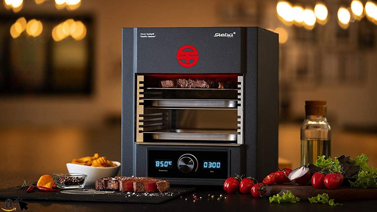 Steba Power ELEKTRO Steakgrill PS M2000 Devils Heaven, elektronische Temperaturregelung von 400 bis 850°C, Timer, Entnehmbarer Edelstahl-Einschubrahmen, 2000 Watt