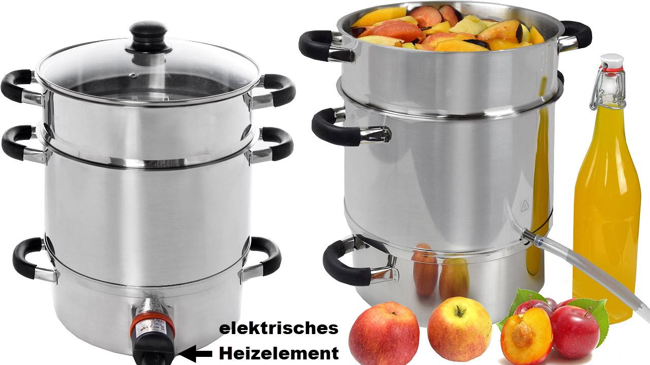 Syntrox Germany DK-1500W-SS 8,5L mobiler Dampfentsafter elektrisch, Dampfgarer Saftpresse Obstpresse Edelstahl mit Heizelement