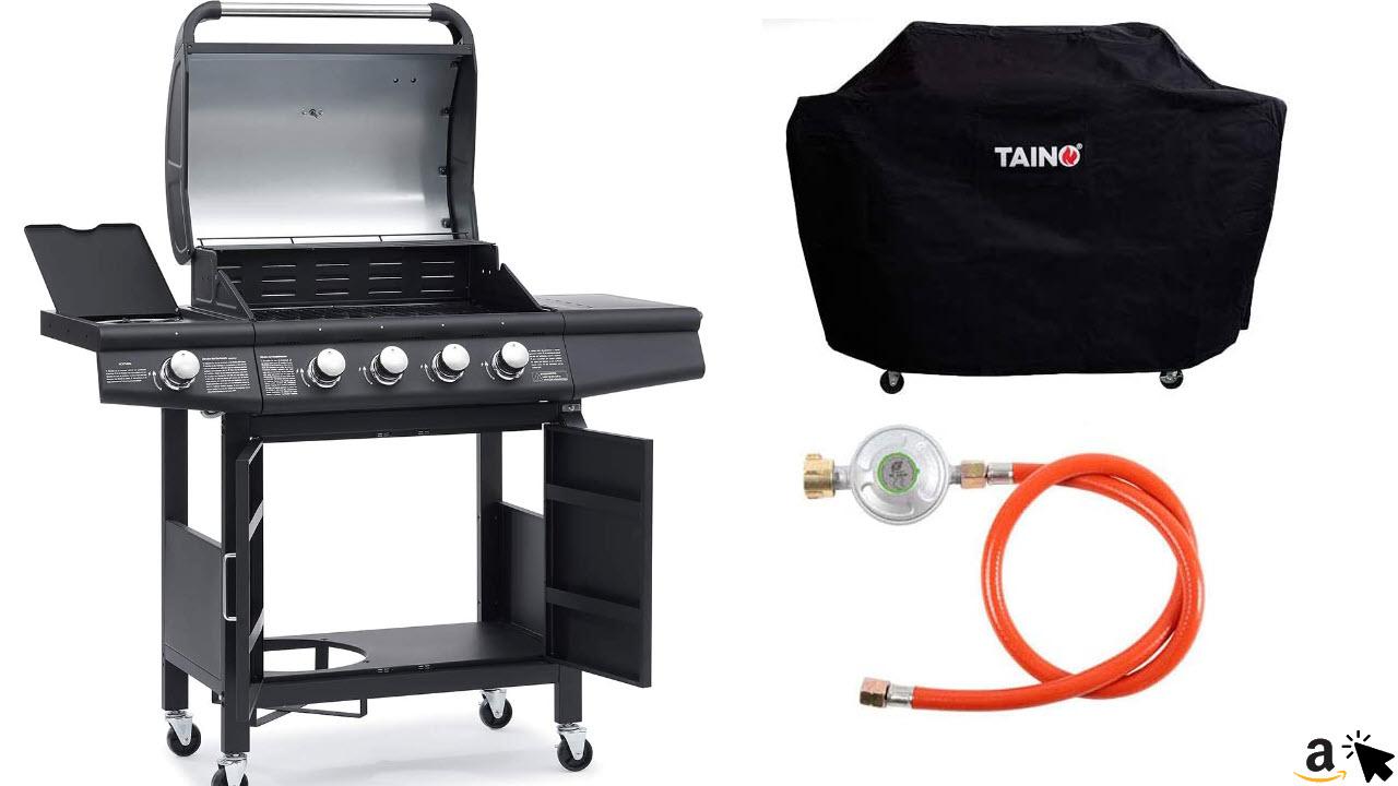 TAINO RED 4+1 Grillwagen BBQ Edelstahl-Brenner Gasgrill schwarz inkl Zubehör Abdeckplane Haube Gasregler