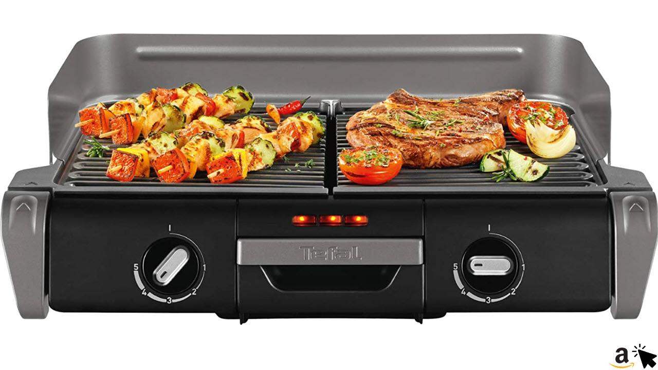 Tefal Elektrogrill Family TG8000, Elektrischer Tischgrill BBQ, Für drinnen und draußen, Zwei getrennte Grillroste mit stufenlosen Thermostaten, individuell regulierbar, Spülmaschinengeeignet, 2400W