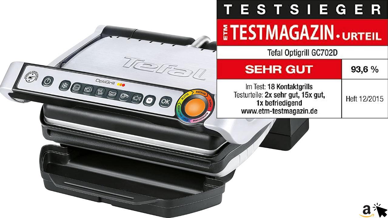 Tefal OptiGrill GC702D Kontaktgrill, 2000 Watt, Standard-Modell, automatische Anzeige des Garzustands, 6 voreingestellte Grillprogramme