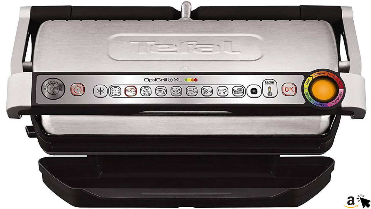 Tefal OptiGrill XL GC722D Kontaktgrill (mit Plus XL-Grillfläche, mit zusätzlichen Temperaturstufen, automatische Anzeige des Garzustands, 9 voreingestellte Programme