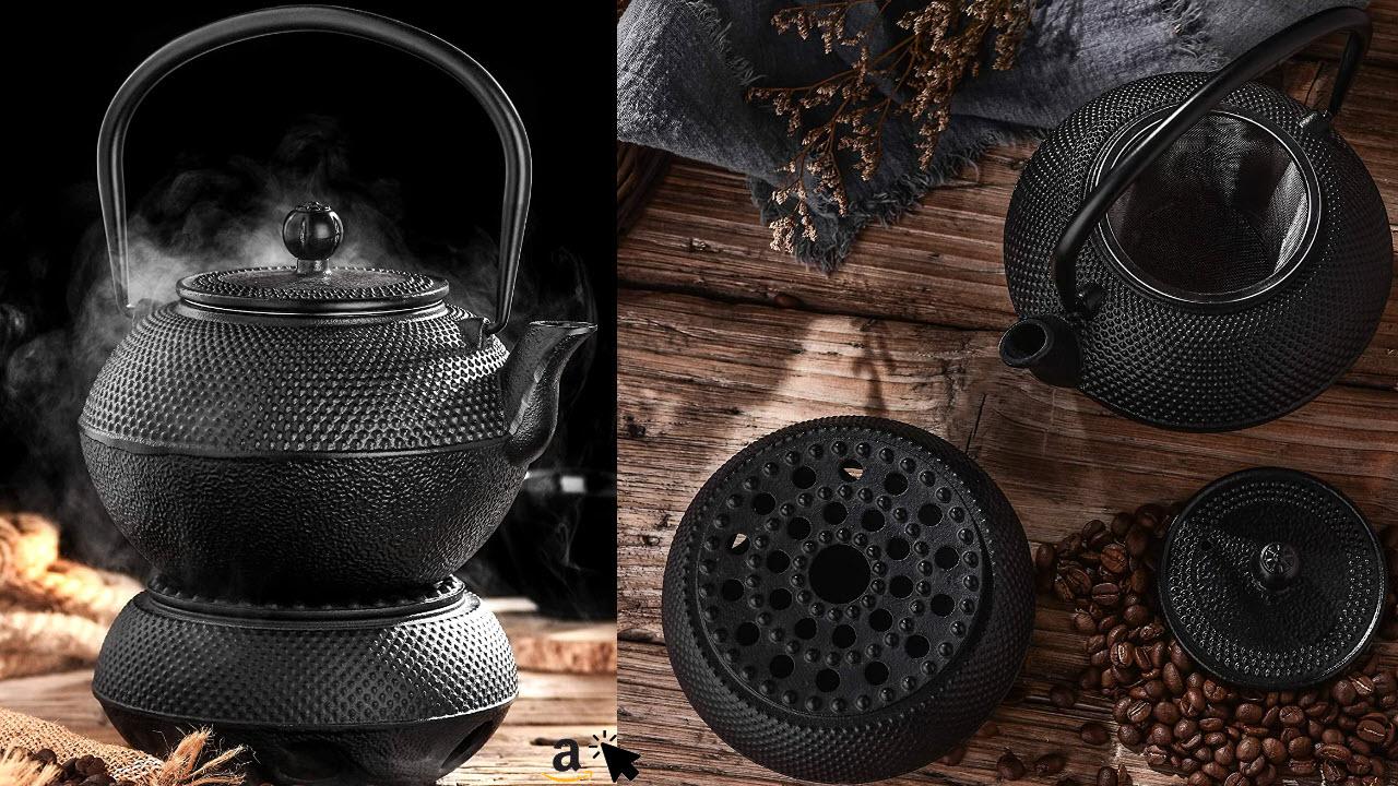Velaze elaze Gusseisen Teekanne mit Teelicht-Heizung, Teekessel im japanischen Stil mit Edelstahl-Teesieb 1300ml